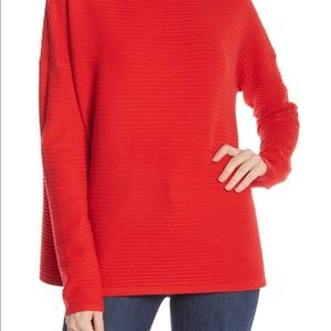 French Connection Lena Mock Neck Sweater in Red